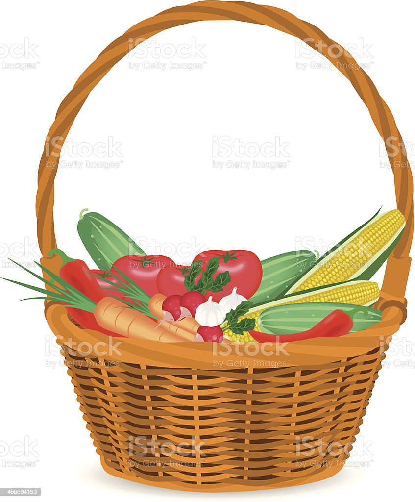 basket with vegetables vector art illustration