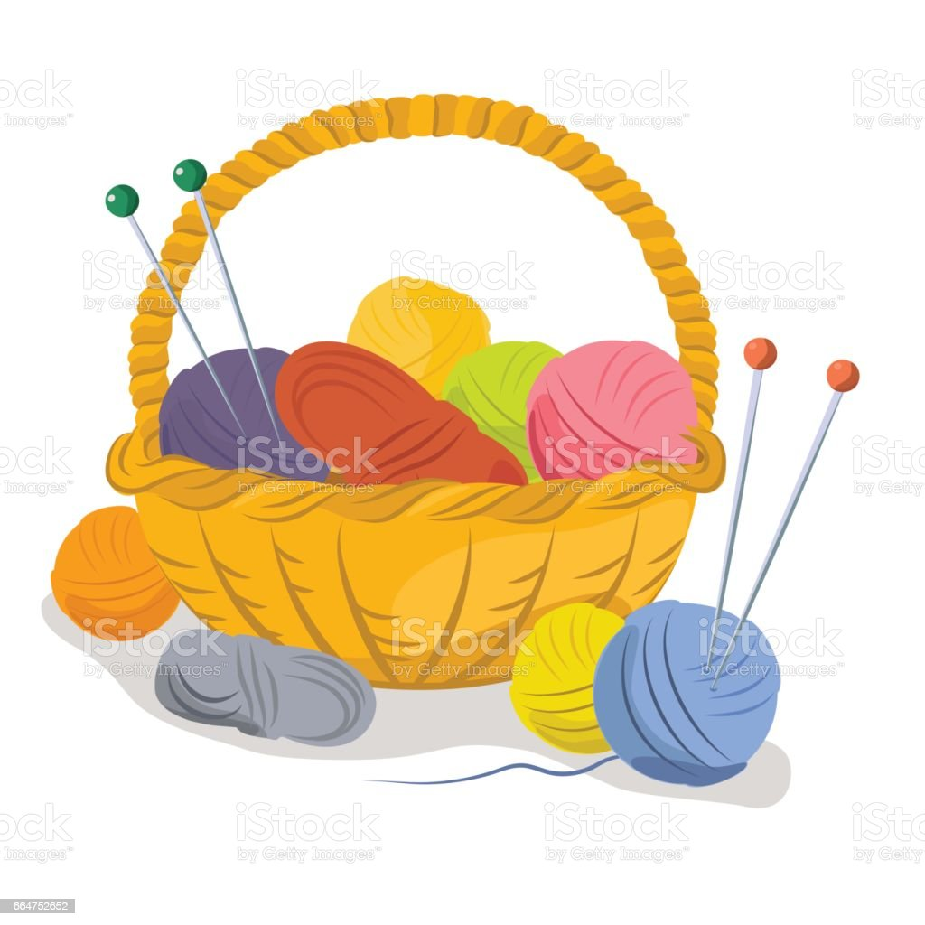 Basket with yarn for knitting vector art illustration