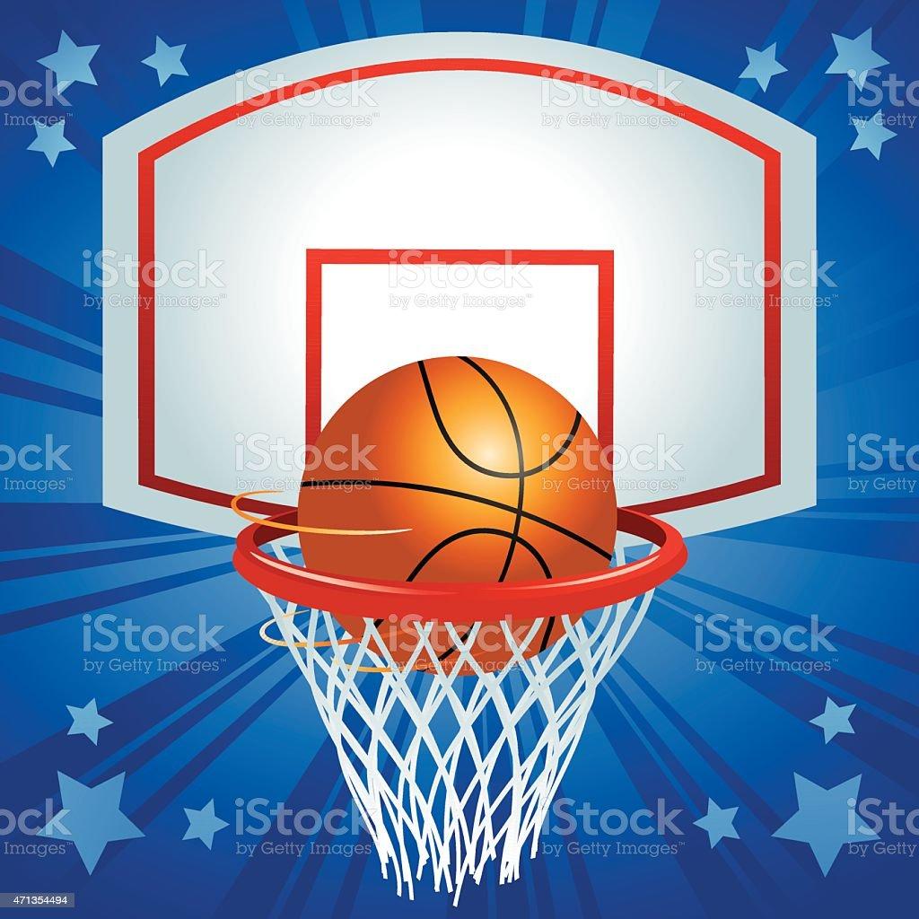 Basketball and Hoop vector art illustration