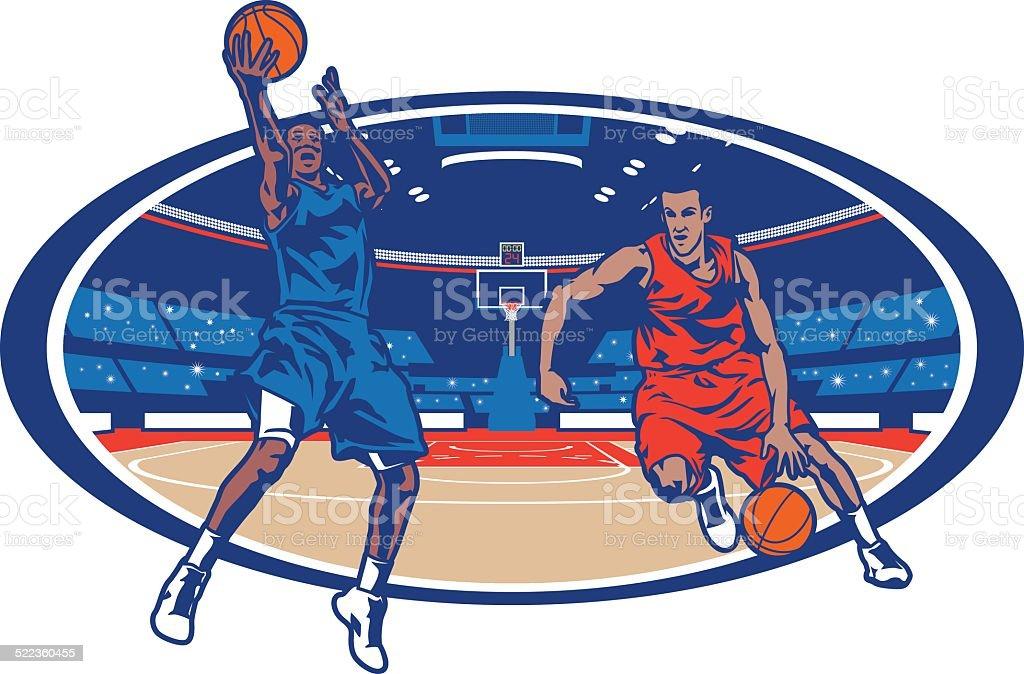 Basketball Arena Matchup vector art illustration