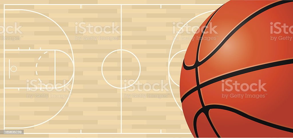 Vector illustration of basketball on the basketball court background.