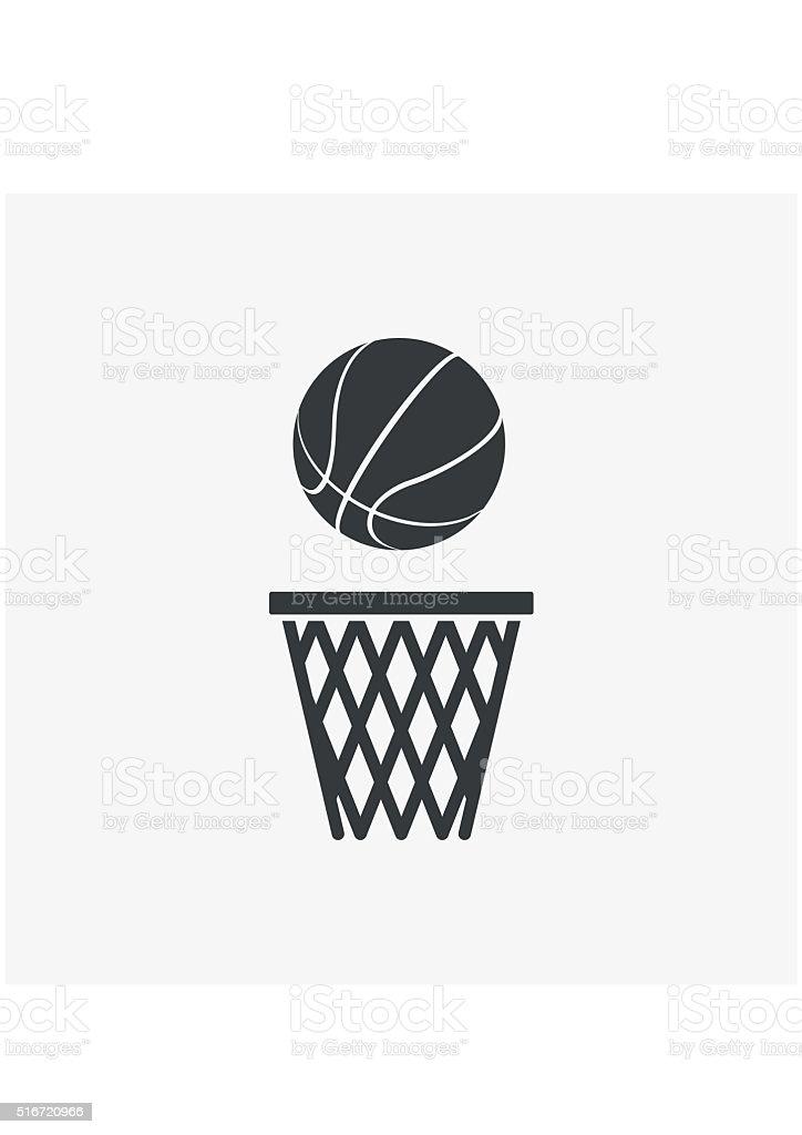 Basketball ball net Icon flat style isolated on grey background. vector art illustration