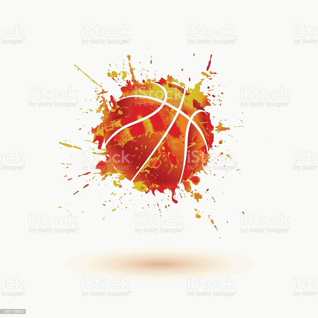 Basketball ball. Vector watercolor splash vector art illustration