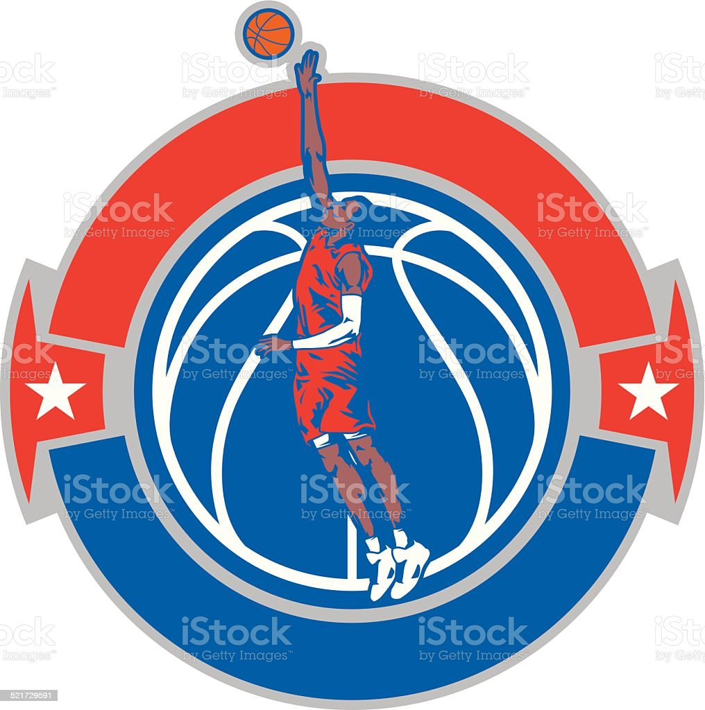 Basketball Blockshot Crest vector art illustration