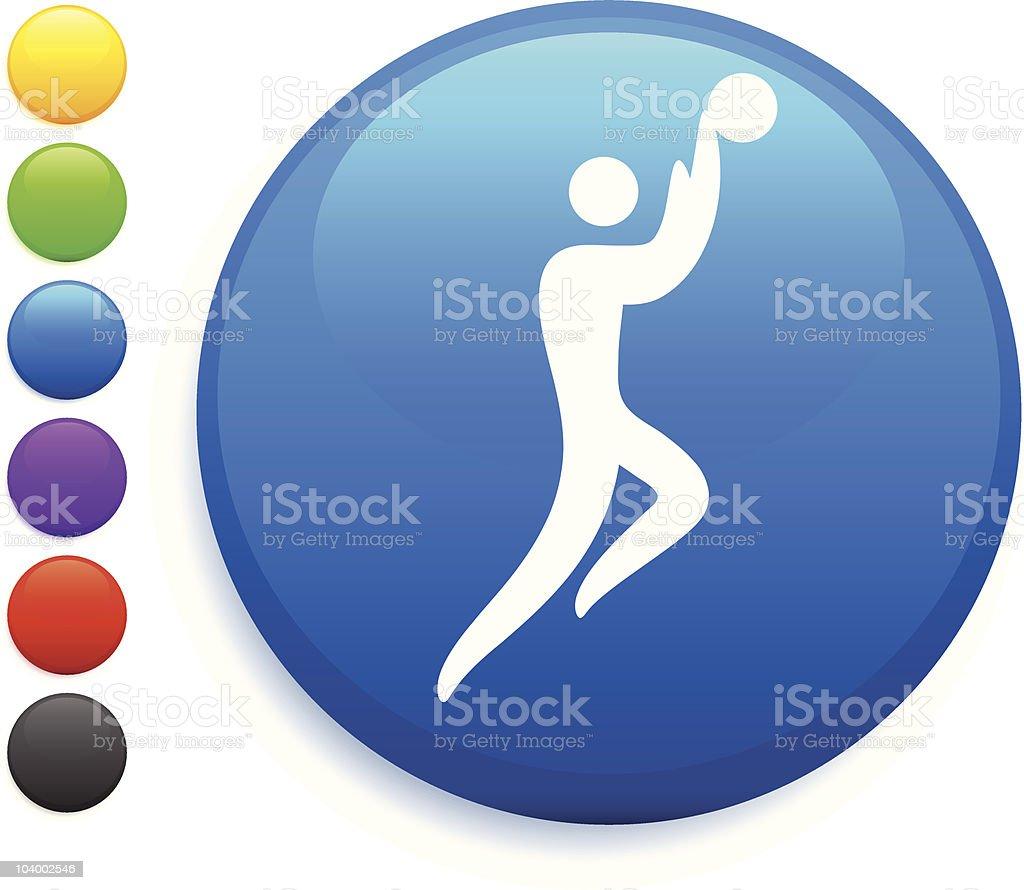 Basketball blue button icon vector art illustration