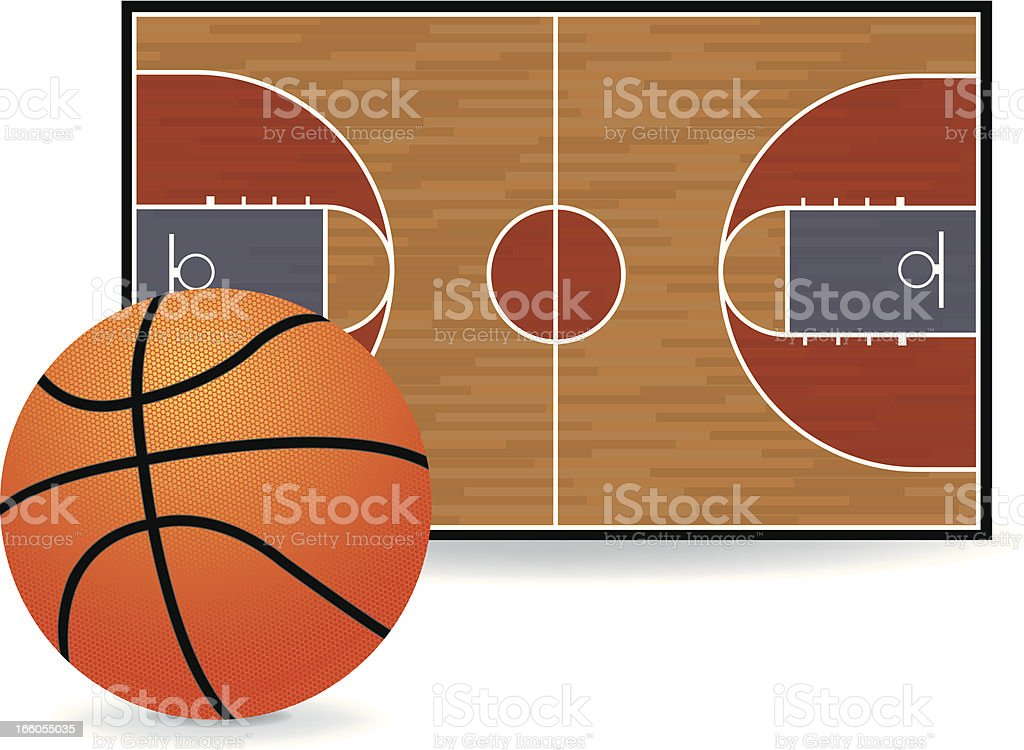 Basketball Court and Ball royalty-free stock vector art
