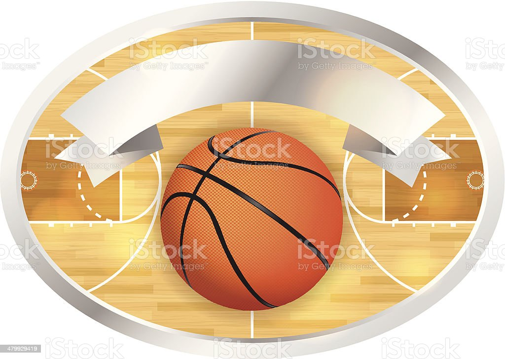 Basketball Court Badge and Banner vector art illustration