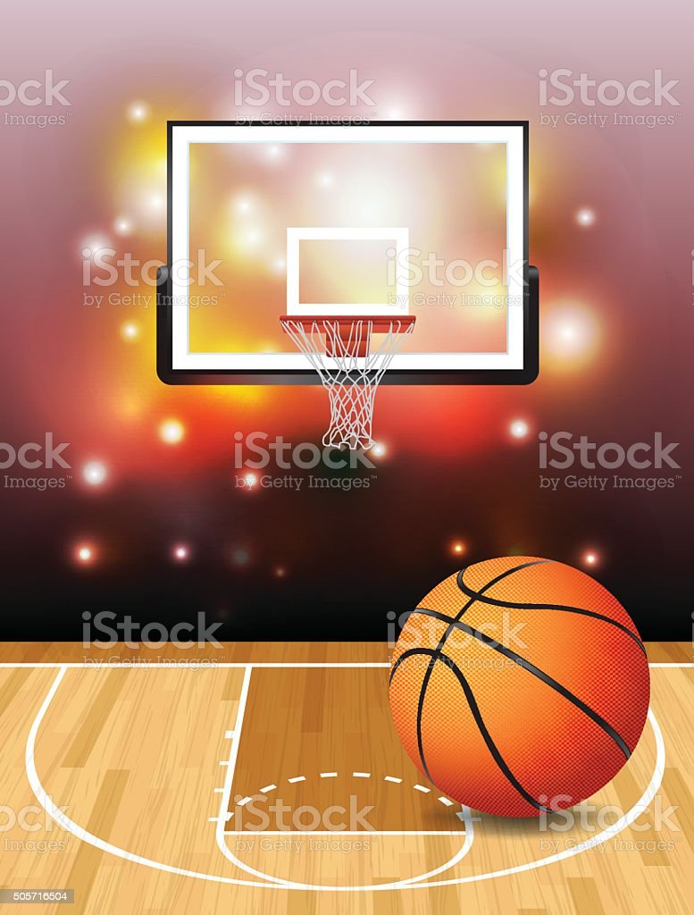 Basketball Court Ball and Hoop Illustration vector art illustration