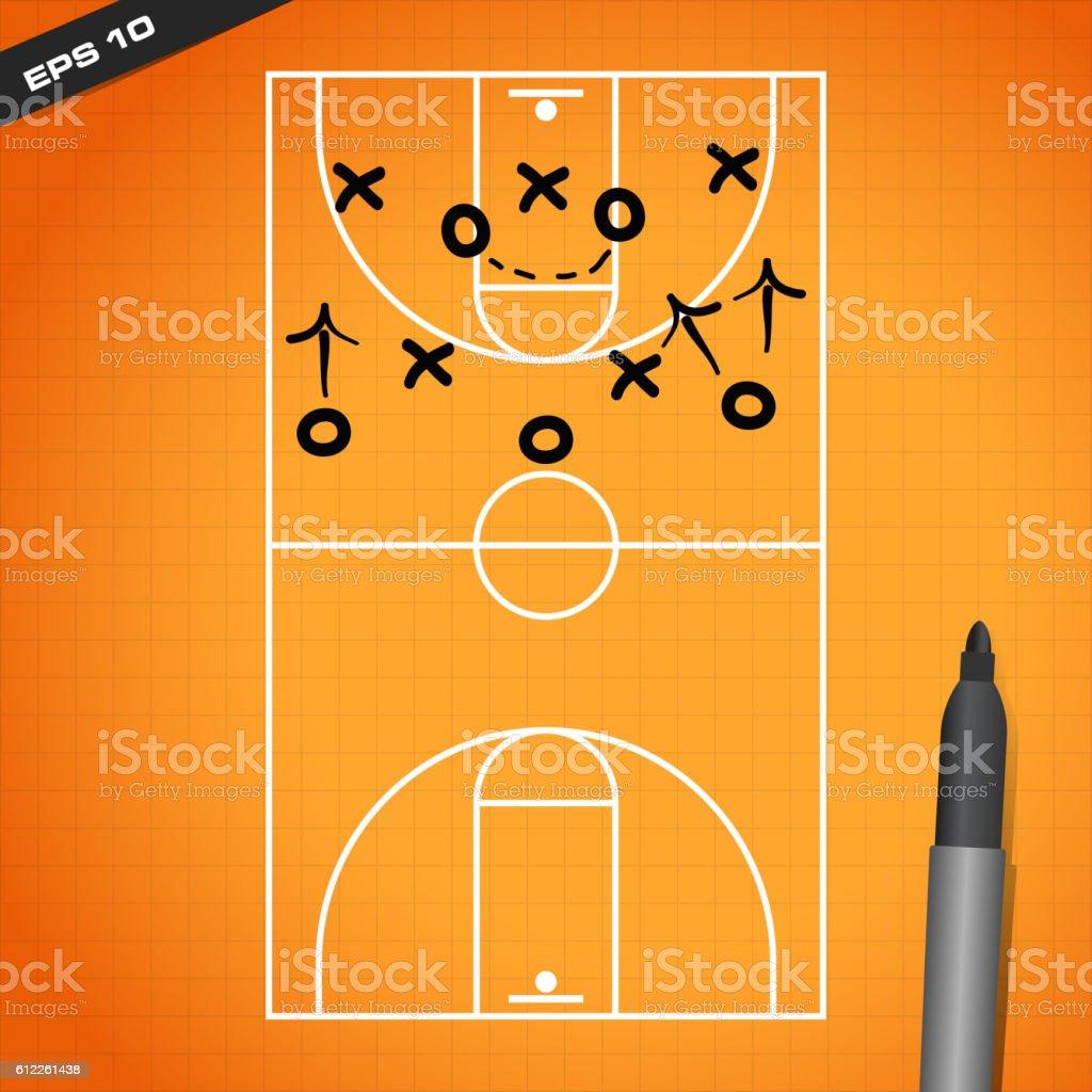 basketball court design vector art illustration