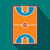 Basketball court field flat icon