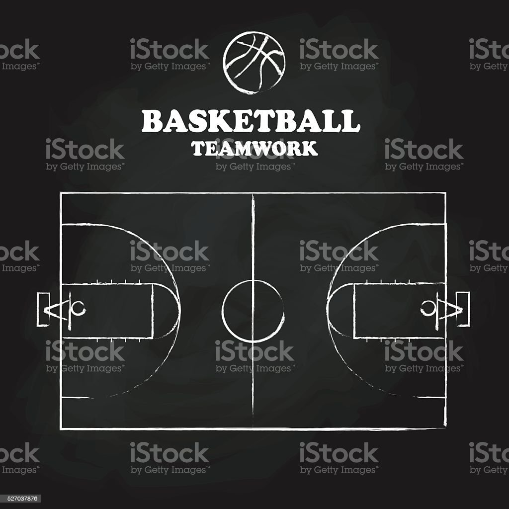 Basketball court floor vintage hand drawn blackboard vector illu vector art illustration