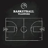 Basketball court floor vintage hand drawn blackboard vector illu