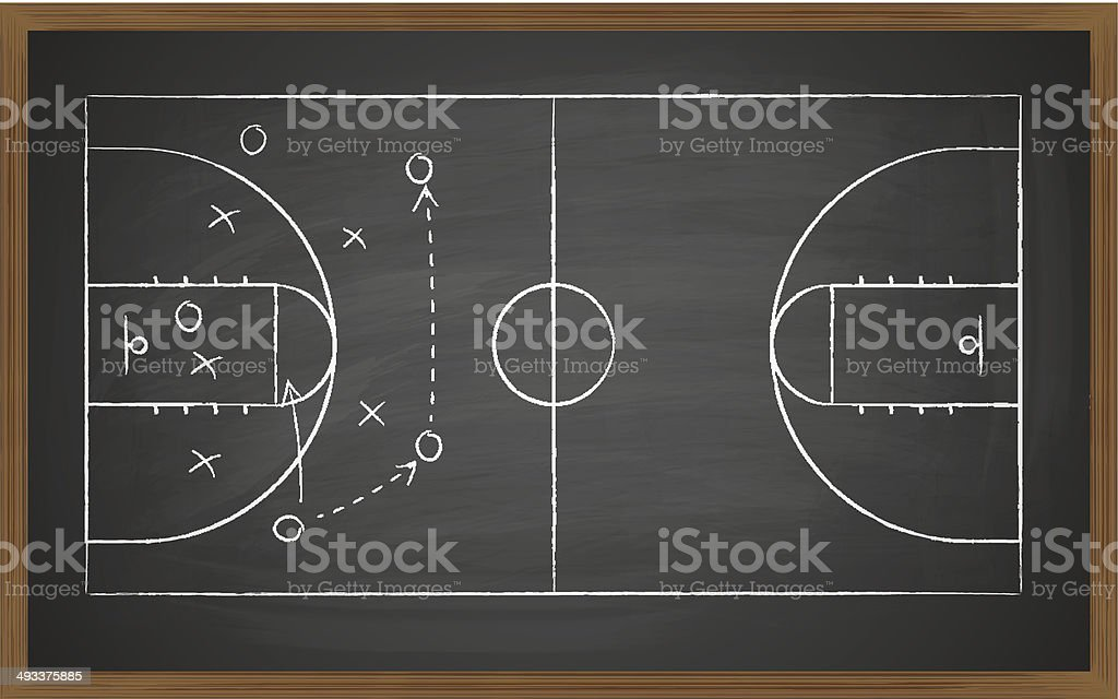 basketball court on board vector art illustration