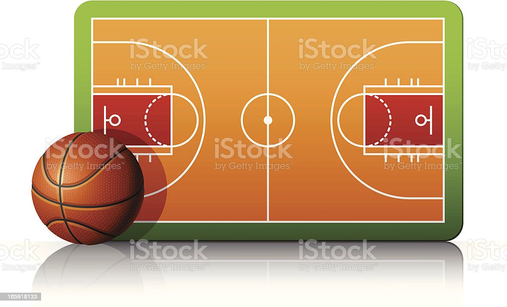 Basketball court with ball and diagram royalty-free stock vector art