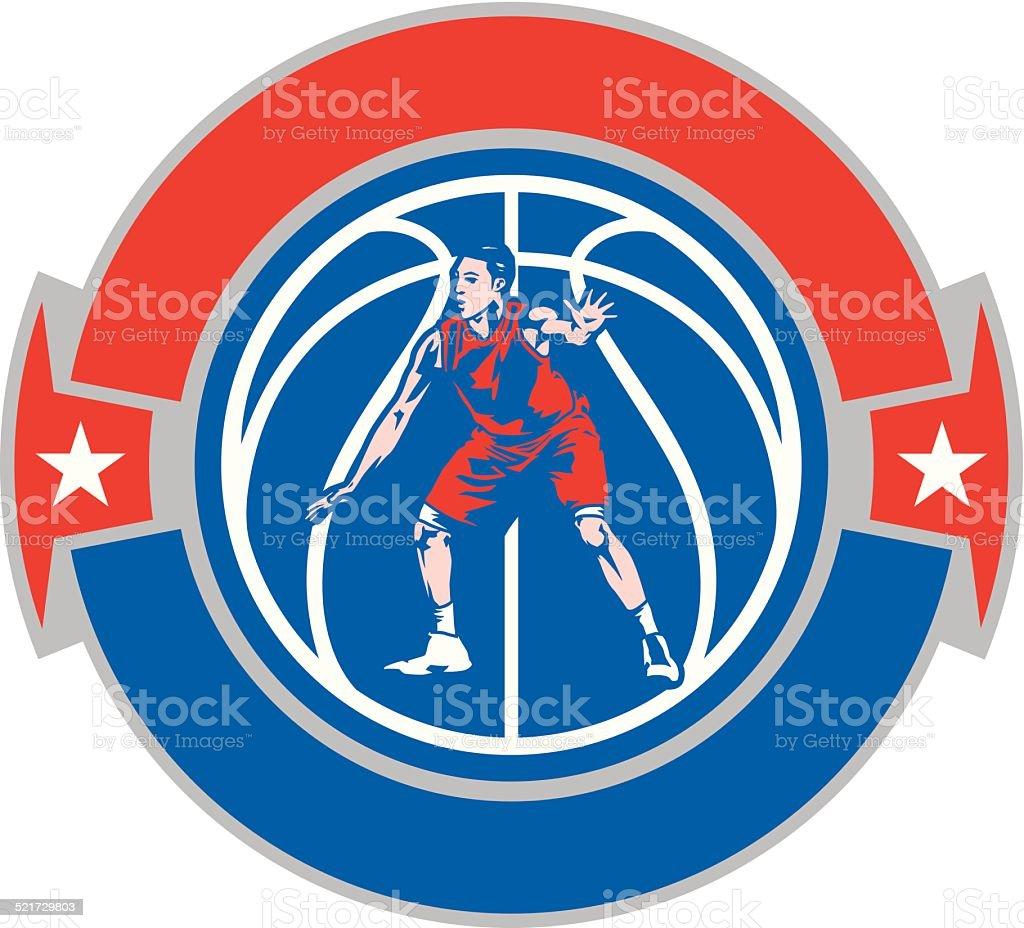 Basketball Defense Crest vector art illustration