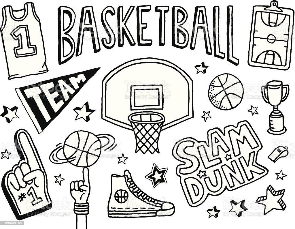 Basketball Doodles vector art illustration