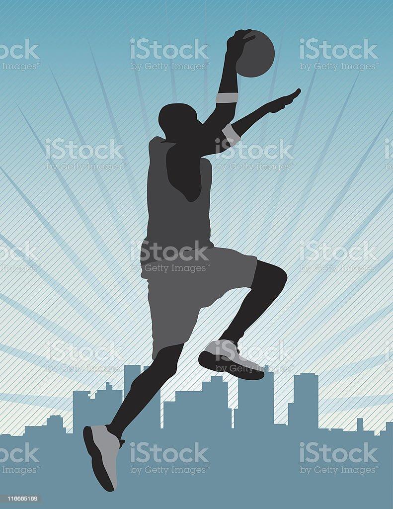 Basketball Dunking vector art illustration