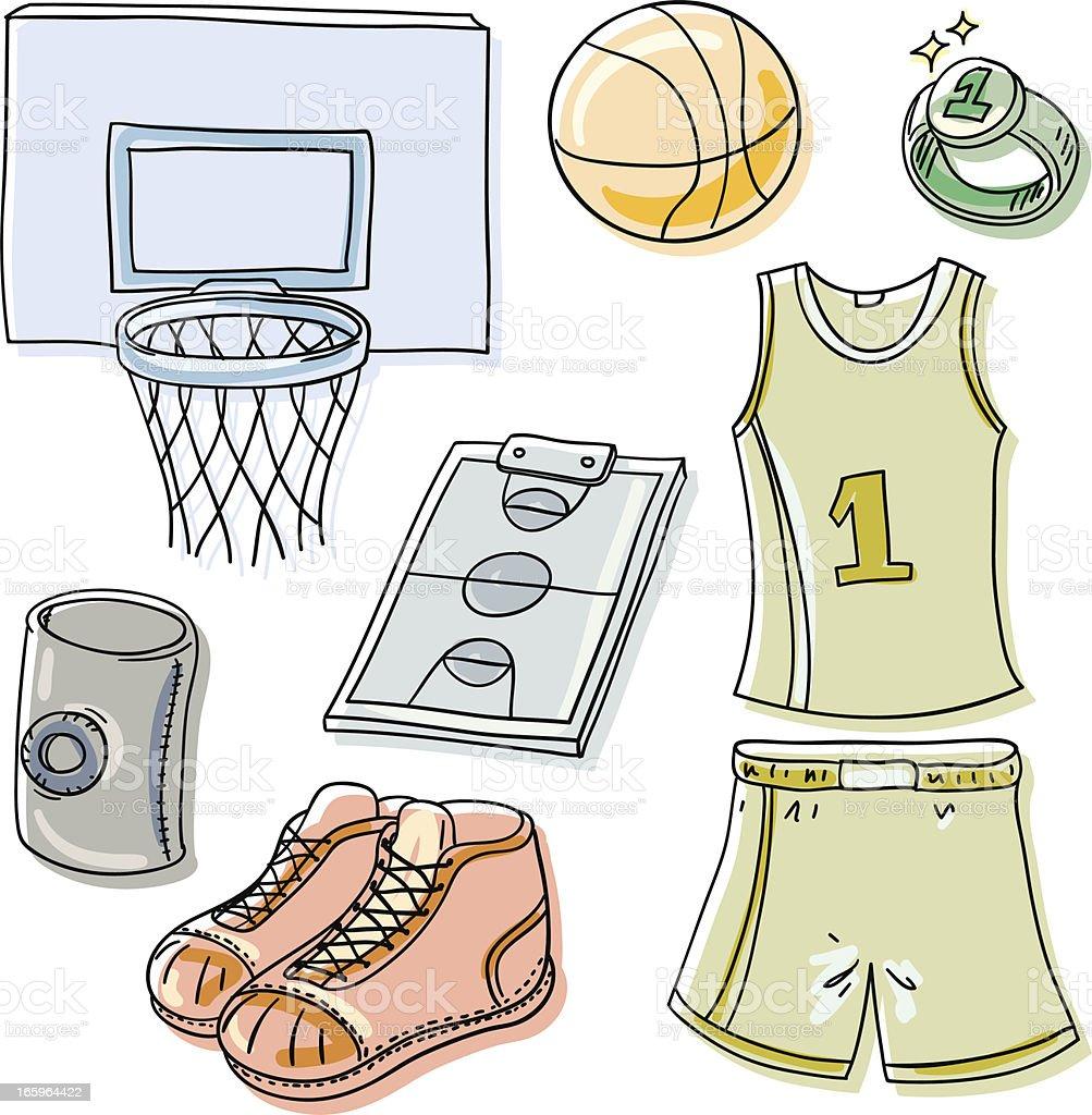 Basketball element cartoon illustration royalty-free stock vector art