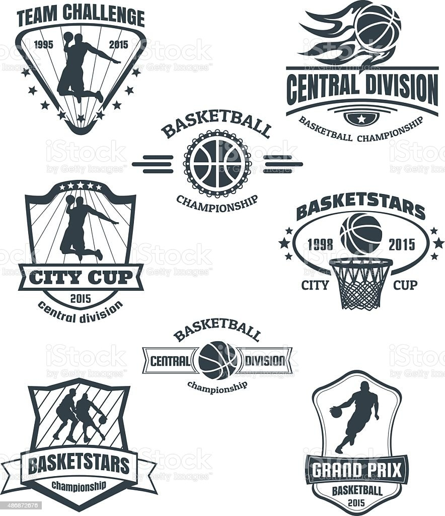 Basketball emblems vector art illustration