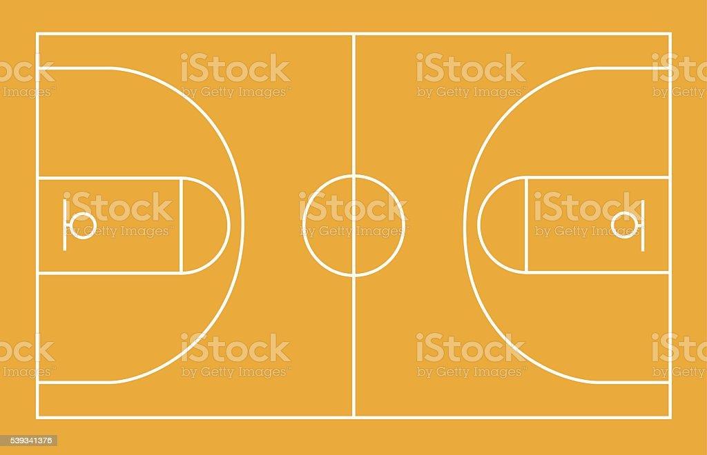 Basketball field, court, yard, FIBA, infographics, horisontal vector art illustration
