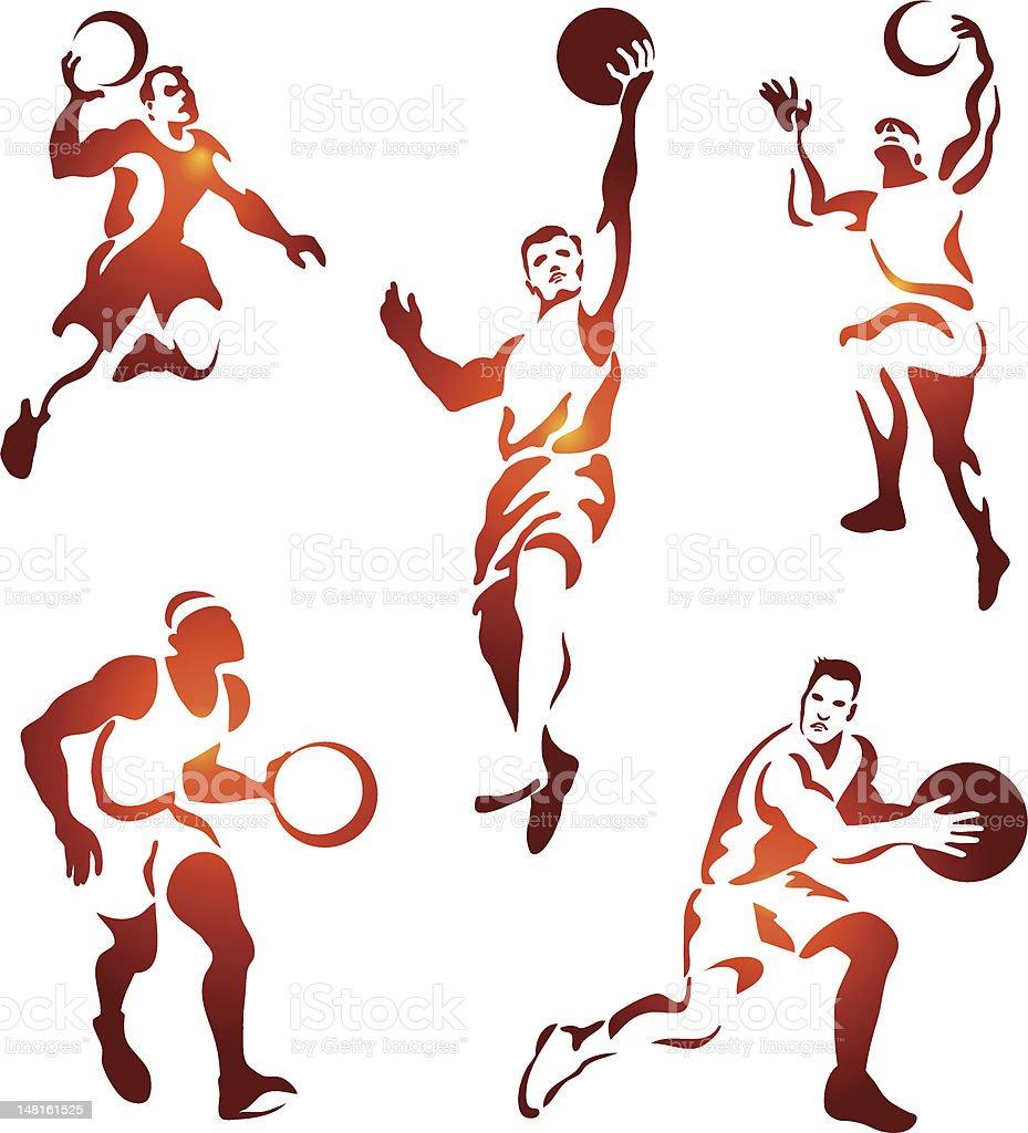basketball figures collection vector art illustration