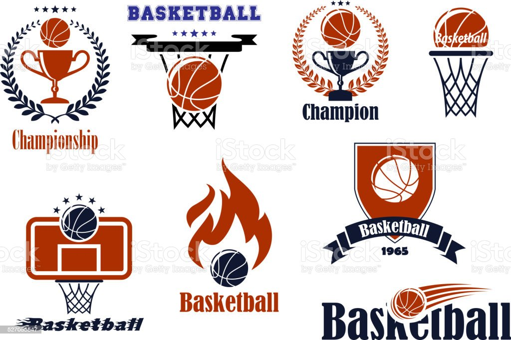 Basketball  game emblems and banners vector art illustration