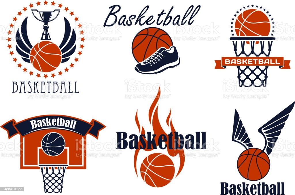 Basketball game sport icons and symbols vector art illustration