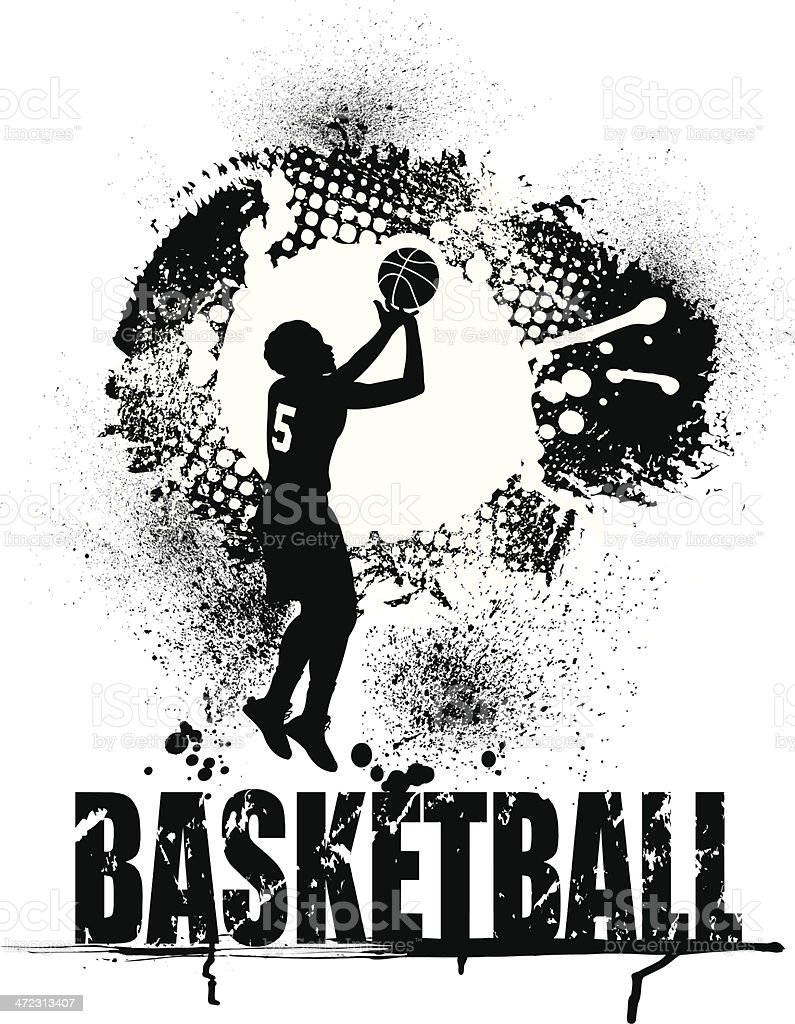 Basketball Grunge Graphic with Type - Girls Background vector art illustration