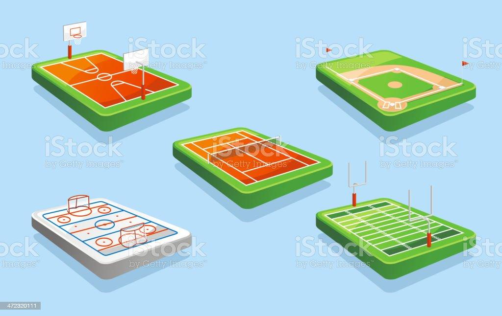 Basketball Hockey Tennis Baseball American Football FIELD royalty-free stock vector art