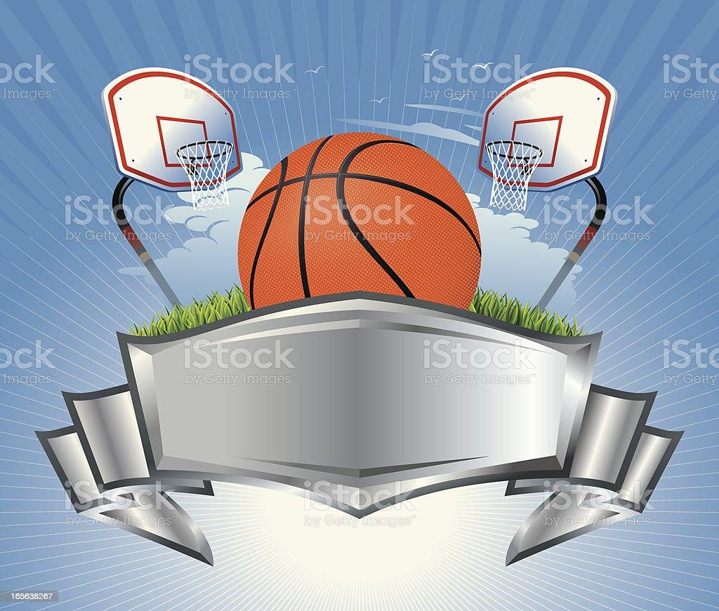 Basketball, Hoop and Metallic Crest Vector vector art illustration