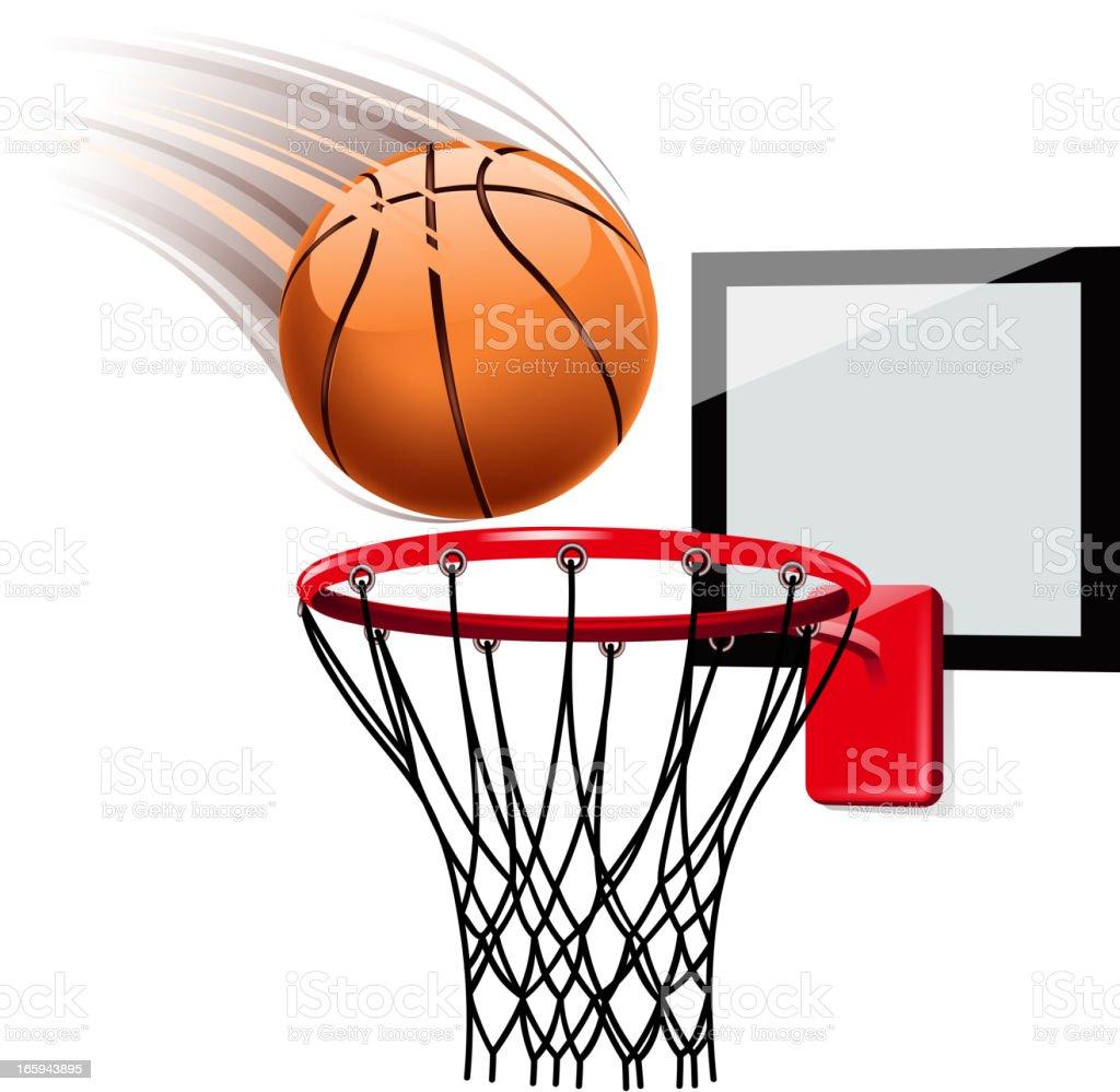 Basketball hoop illustration on white vector art illustration