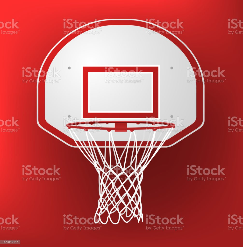 Basketball hoop on a red background vector art illustration