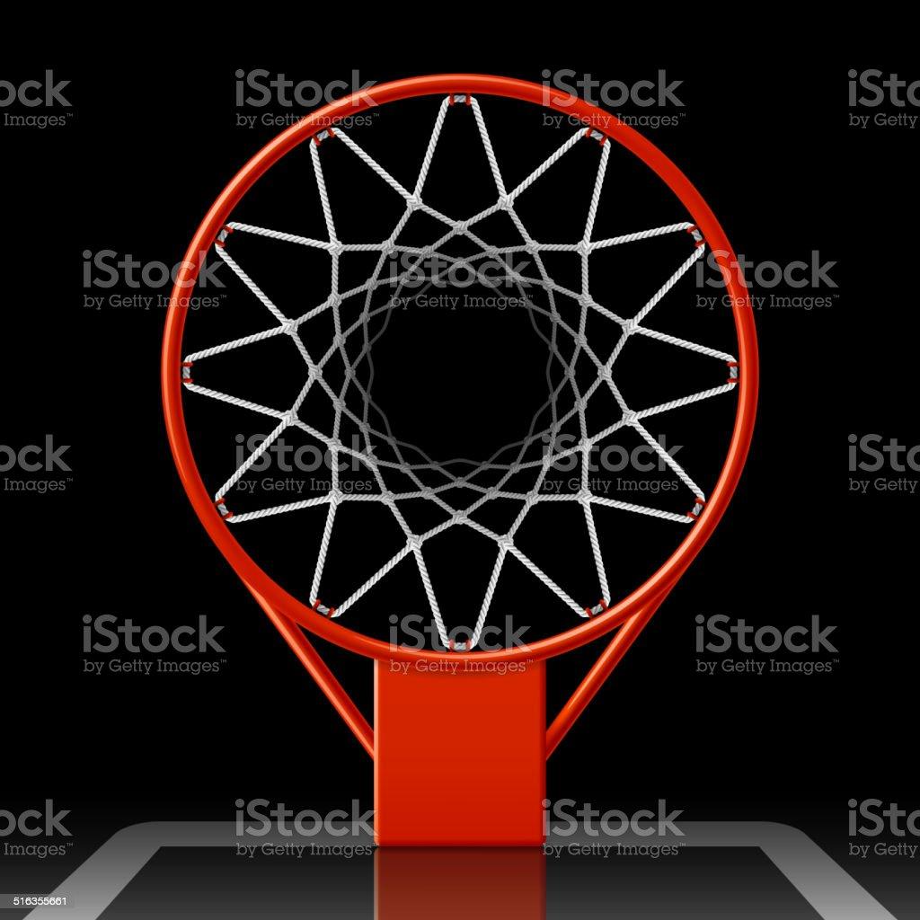 Basketball hoop on black vector art illustration