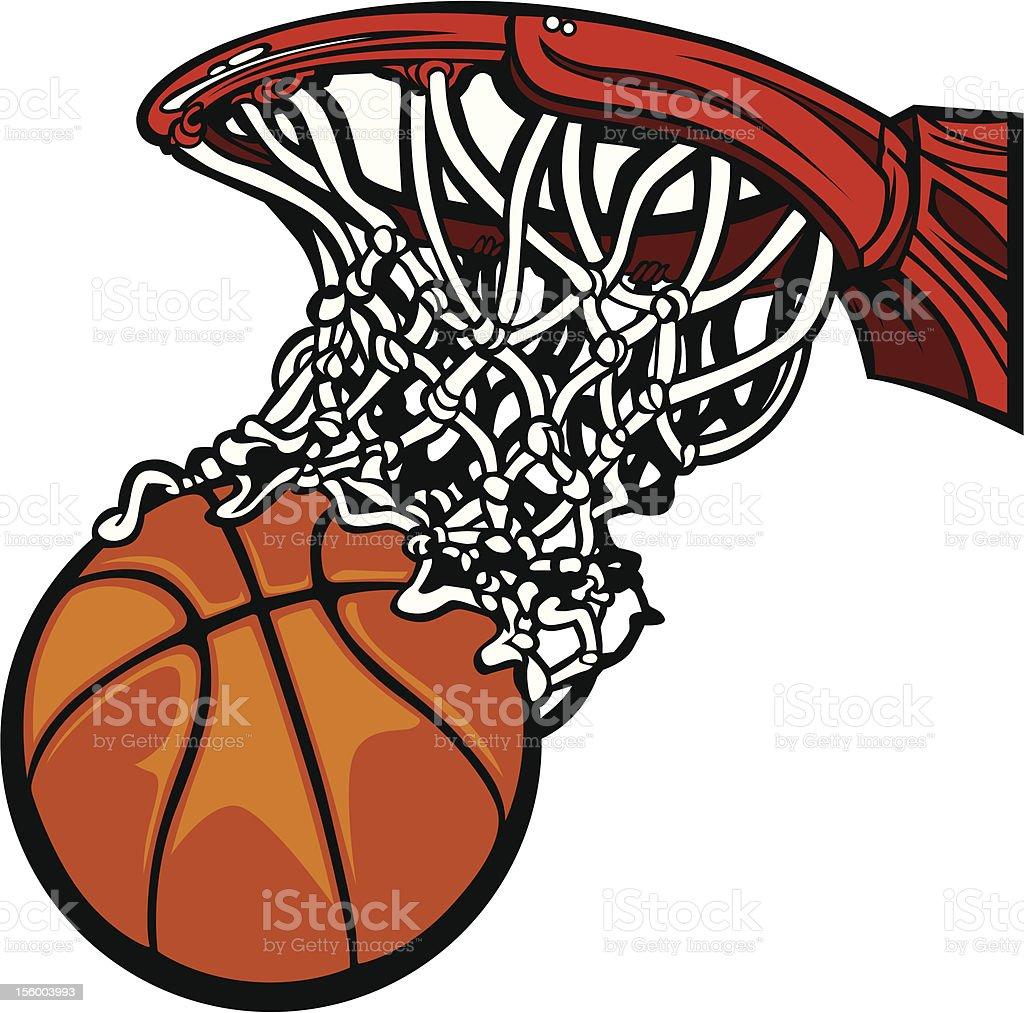 Basketball Hoop with Ball in Net Cartoon vector art illustration