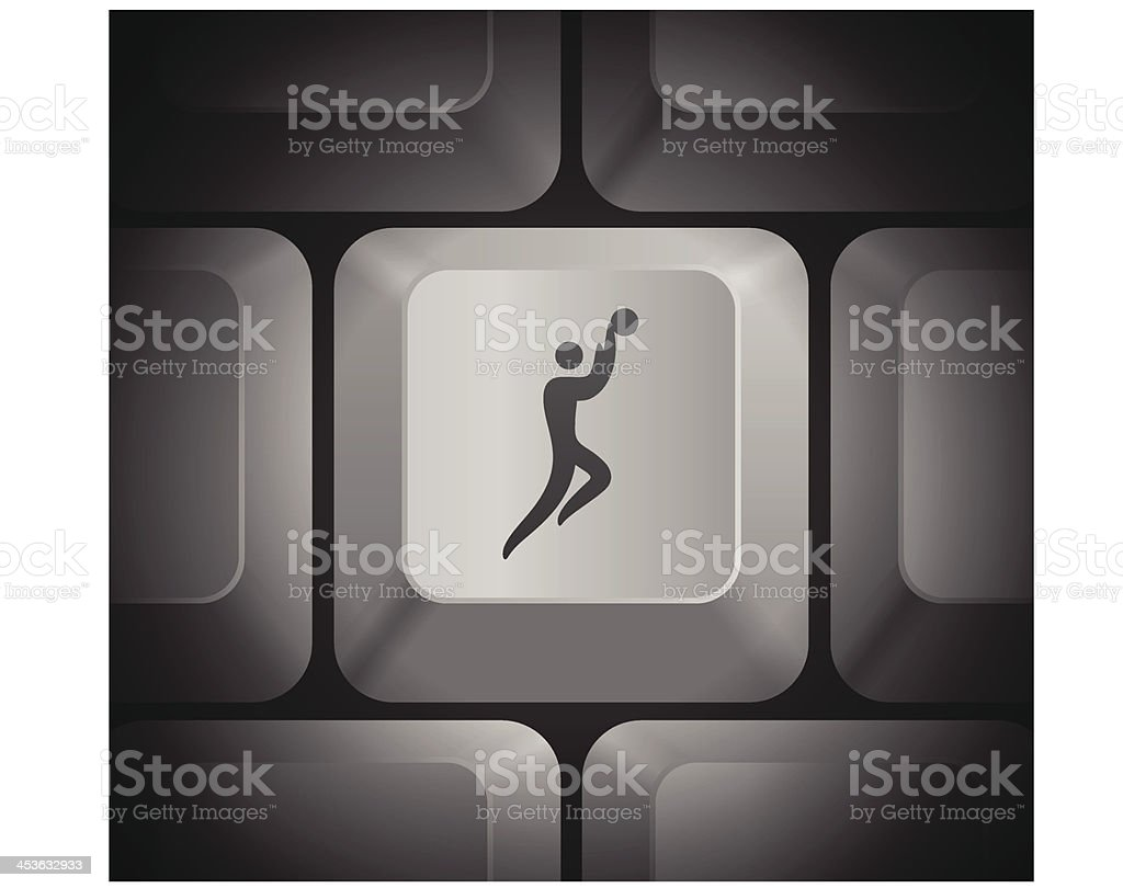 Basketball Icon on Computer Keyboard vector art illustration