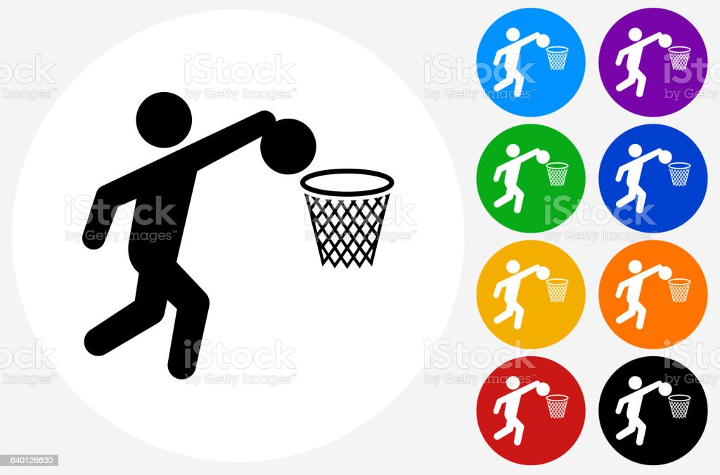 Basketball Icon on Flat Color Circle Buttons vector art illustration