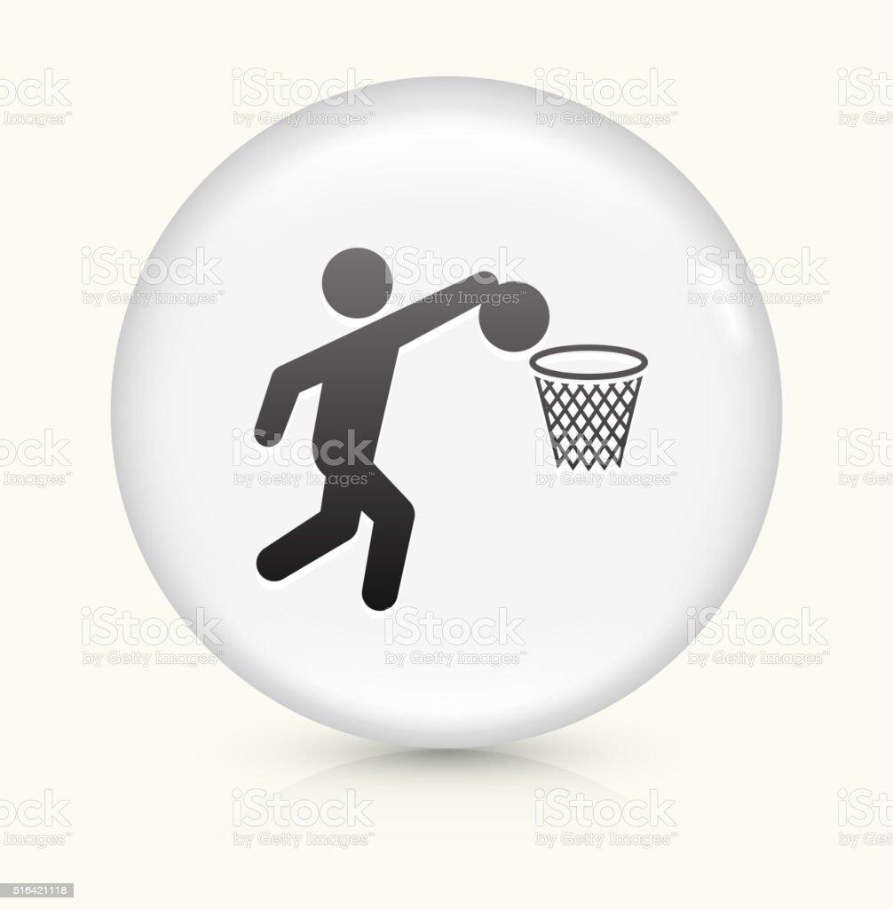 Basketball icon on white round vector button vector art illustration