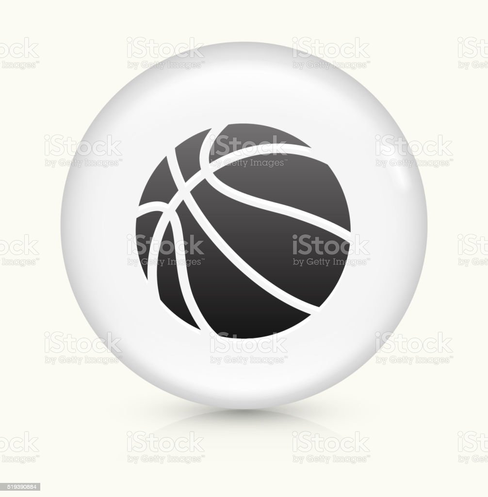 Basketball icon on white round vector button vector art illustration
