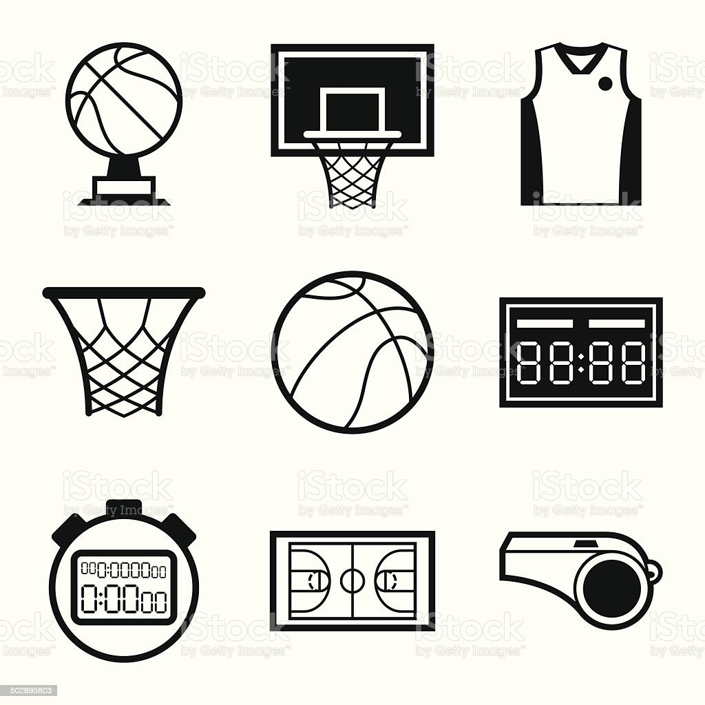 Basketball icon set in flat design style. vector art illustration