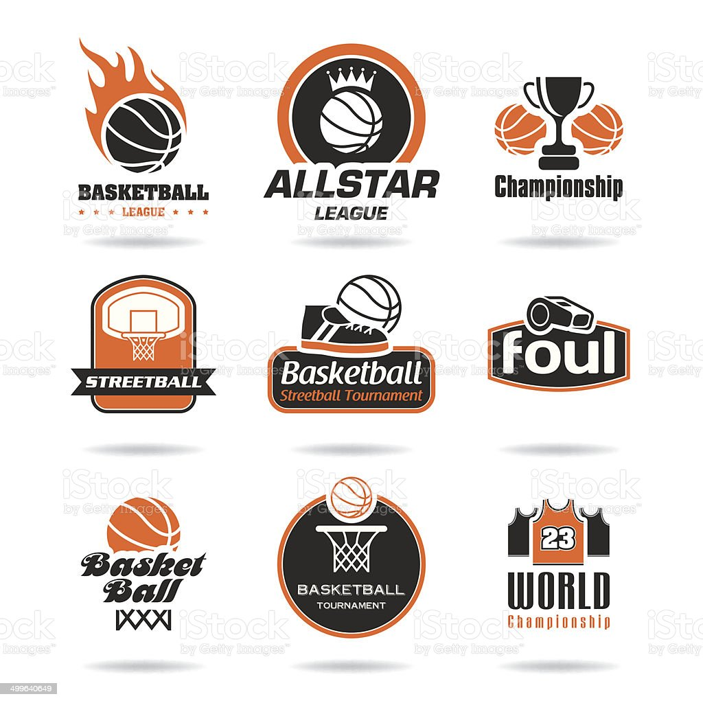 Basketball icon set vector art illustration