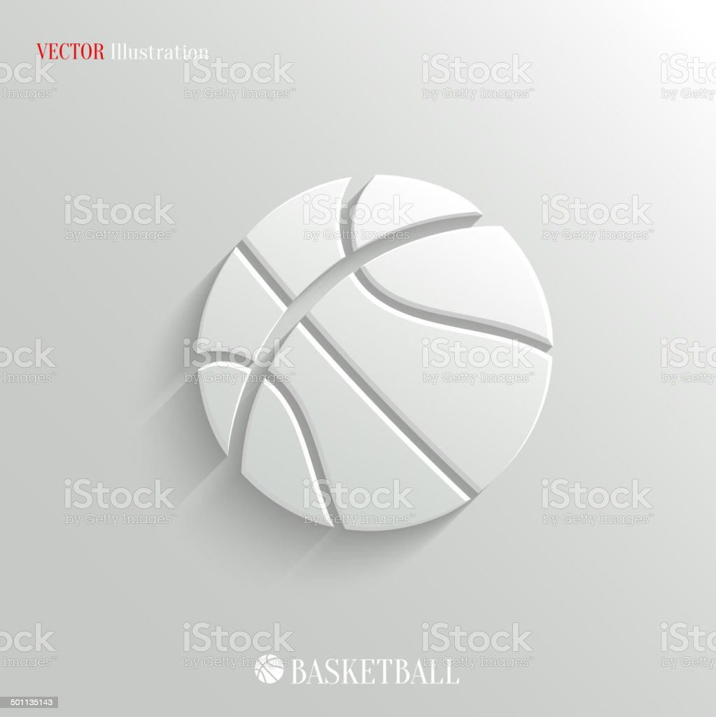 Basketball icon - vector white app button vector art illustration