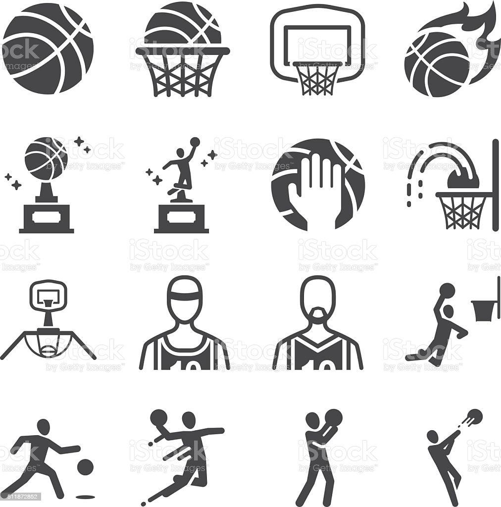 Basketball icons set vector art illustration