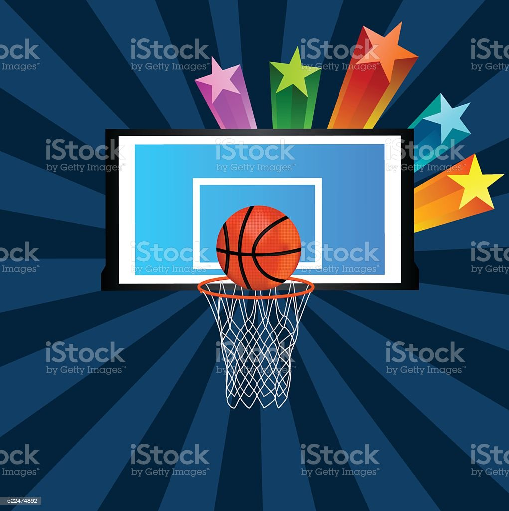 Basketball In Net With Background vector art illustration
