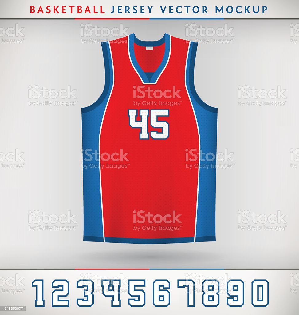 Realistic Vector Mock Up of Basketball Jersey with Numbers. Eps 10...