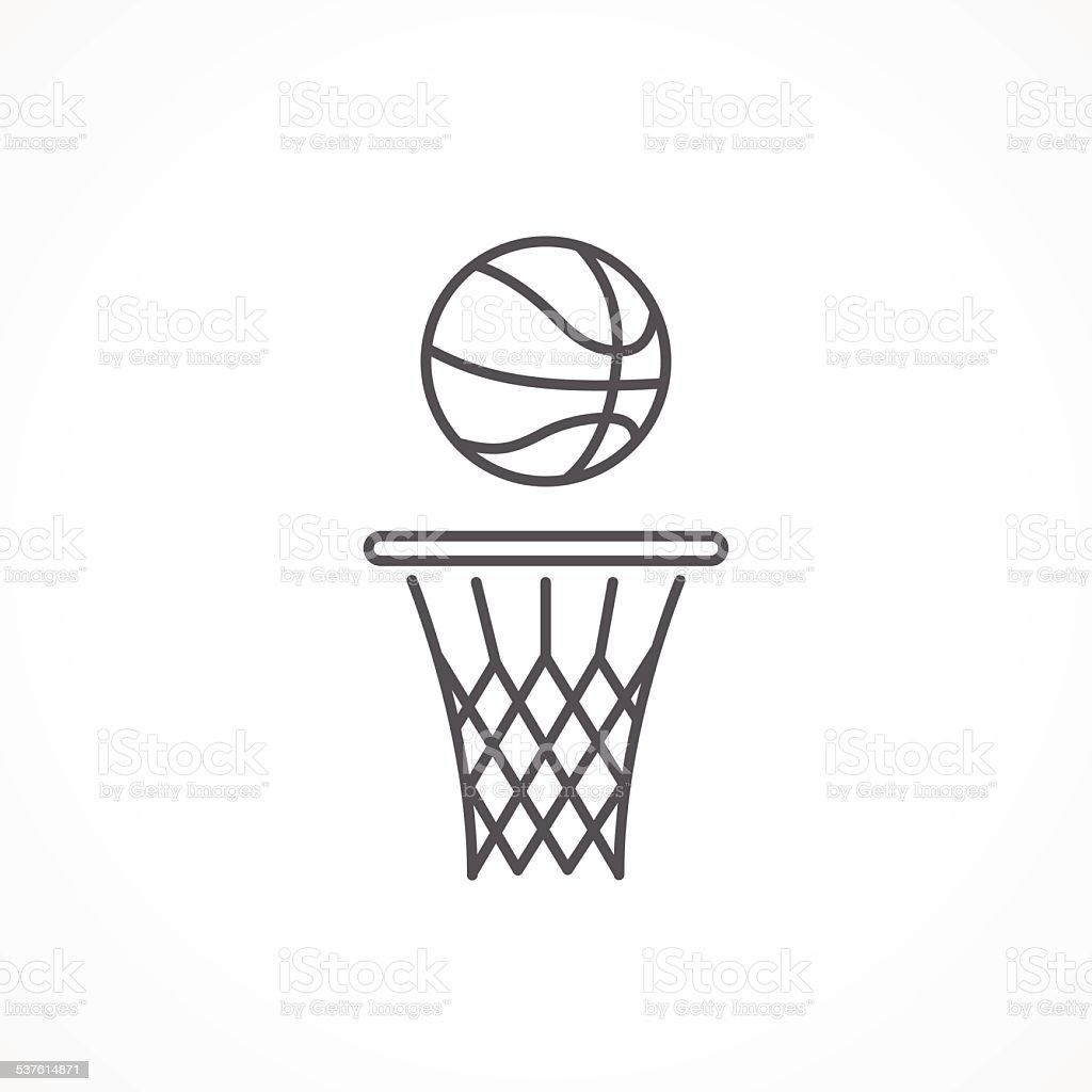 Basketball line icon vector art illustration