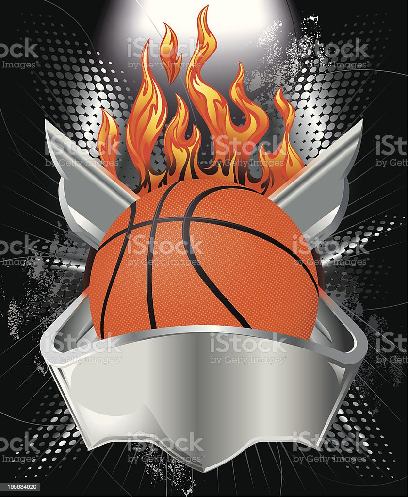 Basketball, Metallic Crest and Fire Vector vector art illustration