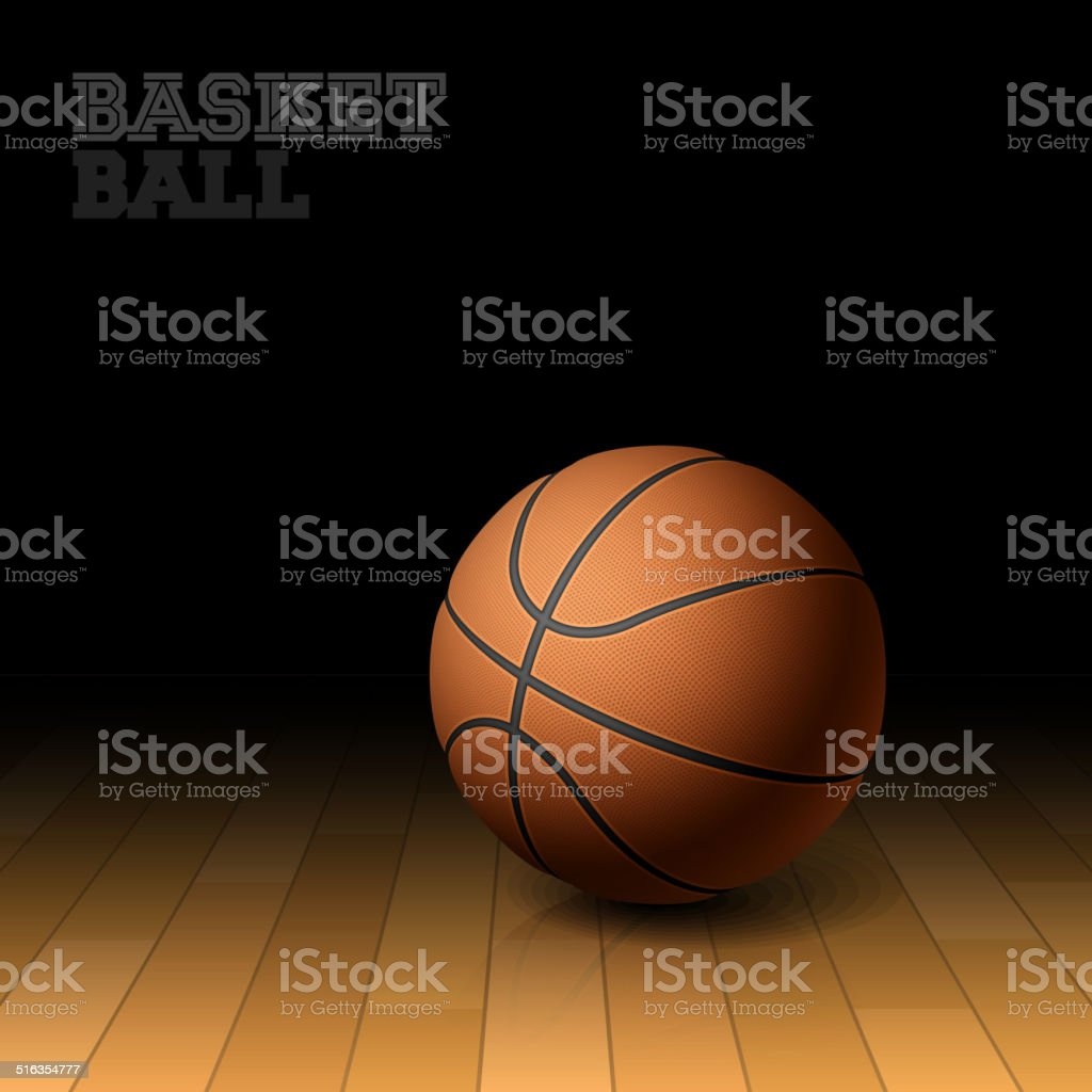 Basketball on a hardwood court floor vector art illustration