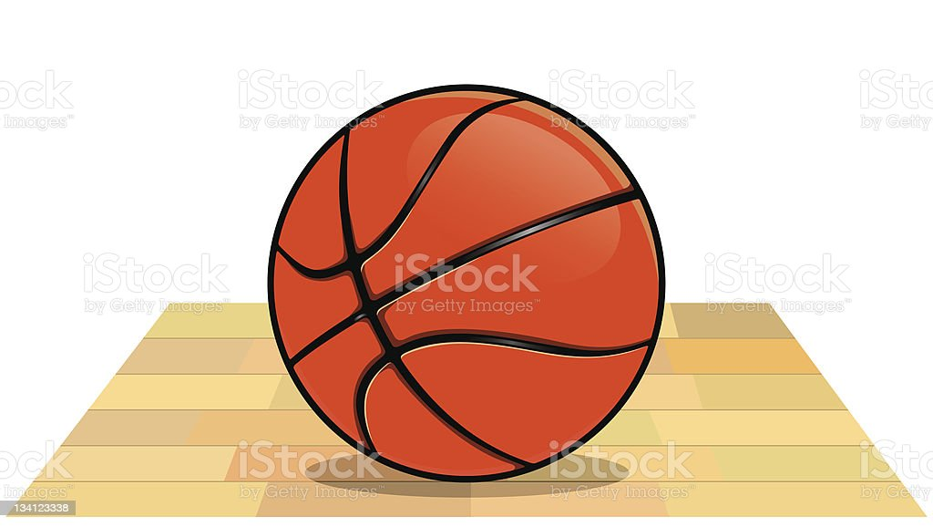 basketball on the floor royalty-free stock vector art
