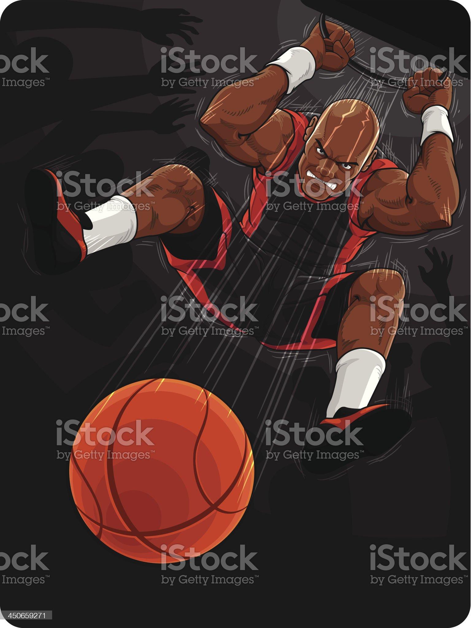 Basketball Player Doing Slam Dunk royalty-free stock vector art