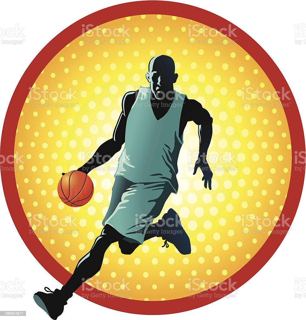 Basketball Player Dribbles royalty-free stock vector art